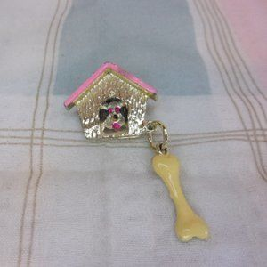 Vintage Dog In Dog House With Bone Brooch Pin